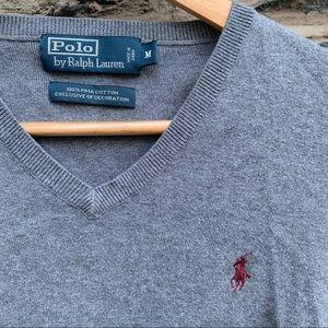 🏇 Polo Ralph Lauren Grey V-Neck Sweater